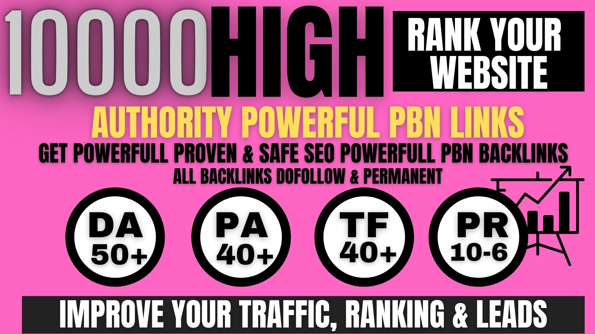 permanent 10000+ Pbn Backlink DA40+PA40+PR6+homepage web 2.0 google 1st page ranking