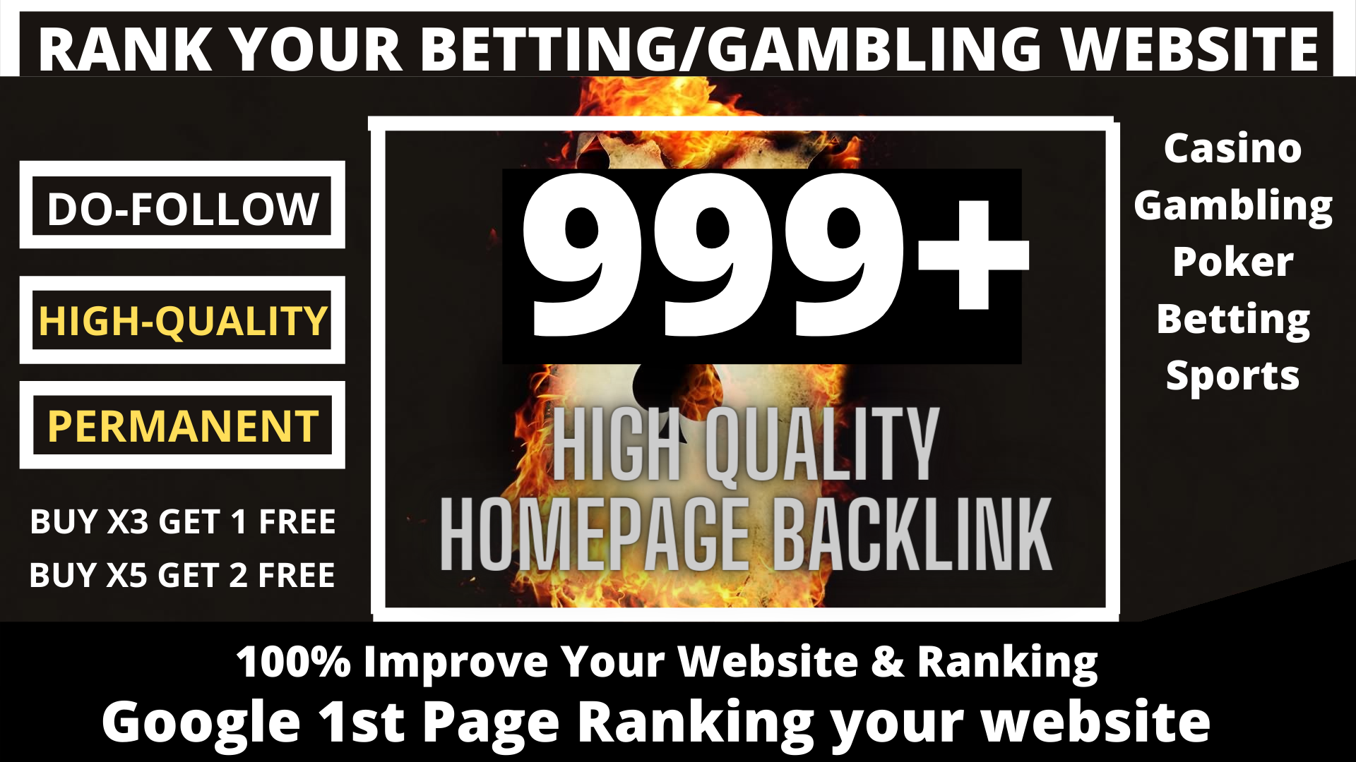 buy one get free one package 999+ powerful Casino,  Gambling,  Poker,  Sports related unique site
