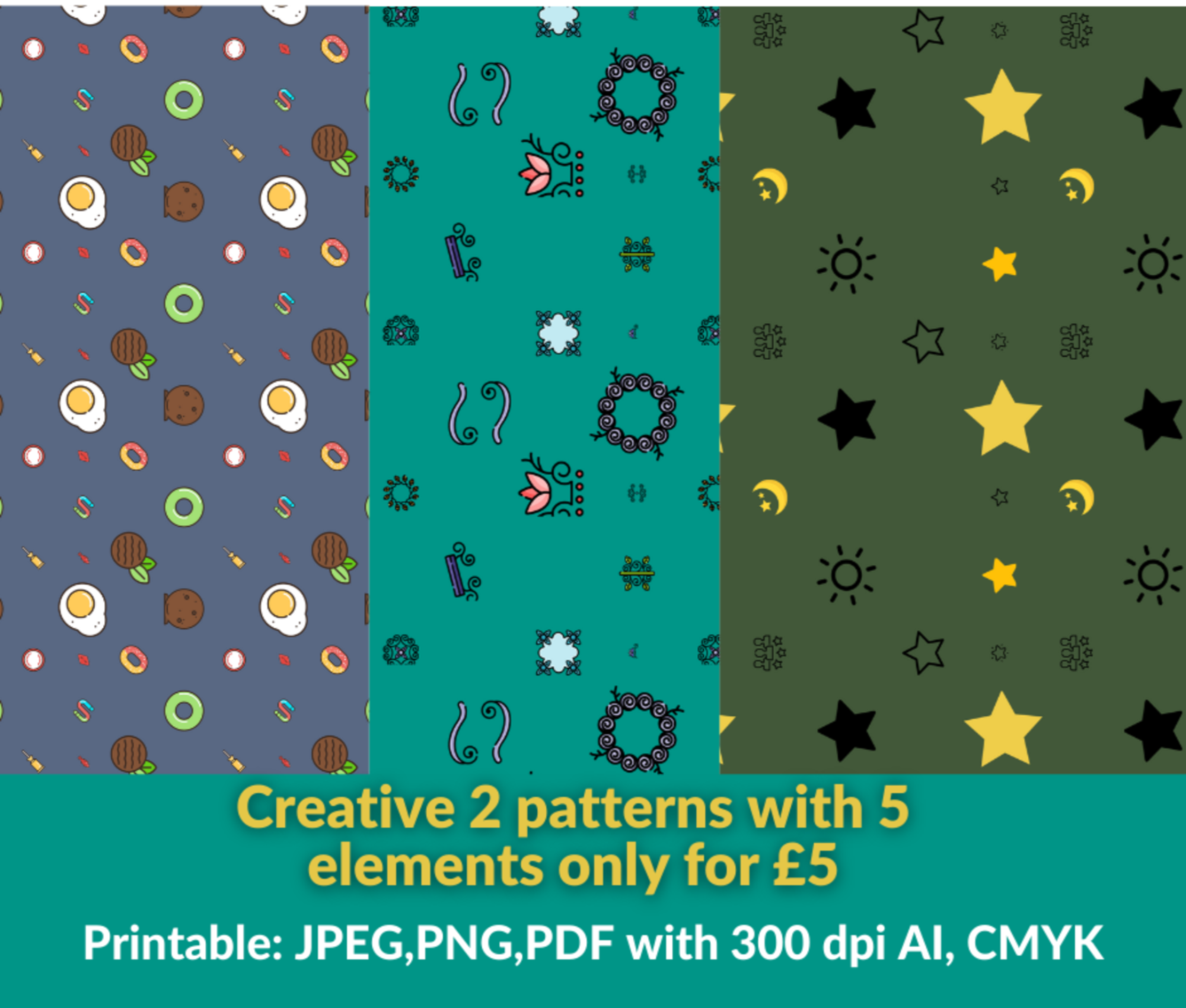 High quality & professional 2 pattern designs for print and web by best graphic designer