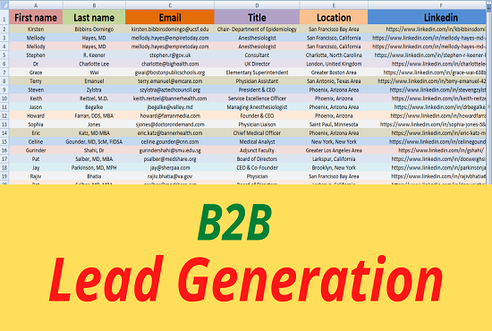 I will Generate b2b active Leads for any company