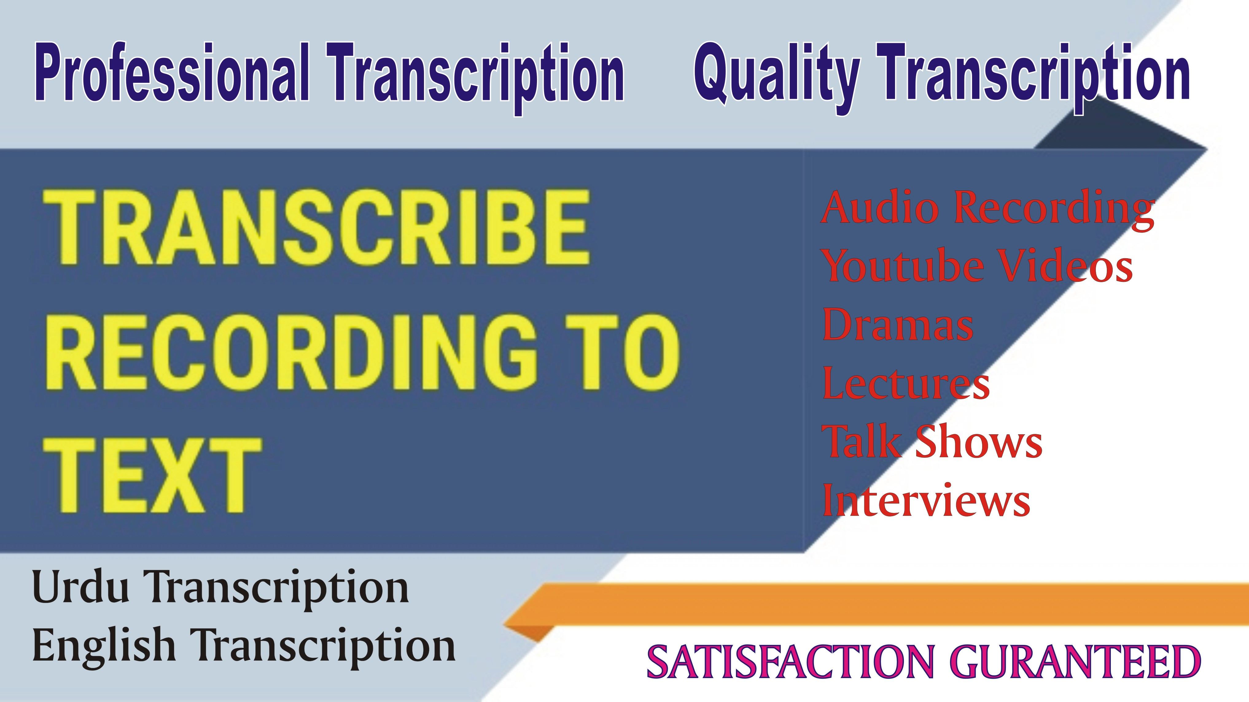 Transcribe Urdu and English Audio/Video