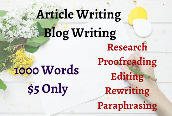I will do SEO optimized article writing,  rewriting,  editing and proofreading for your website.