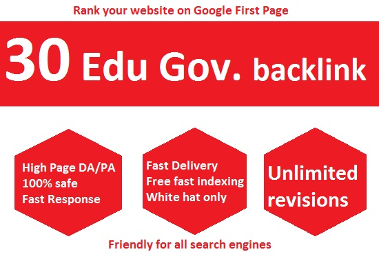 I'll give you 30 Instant Live Edu Gov High authority Backlinks to boost your websitr