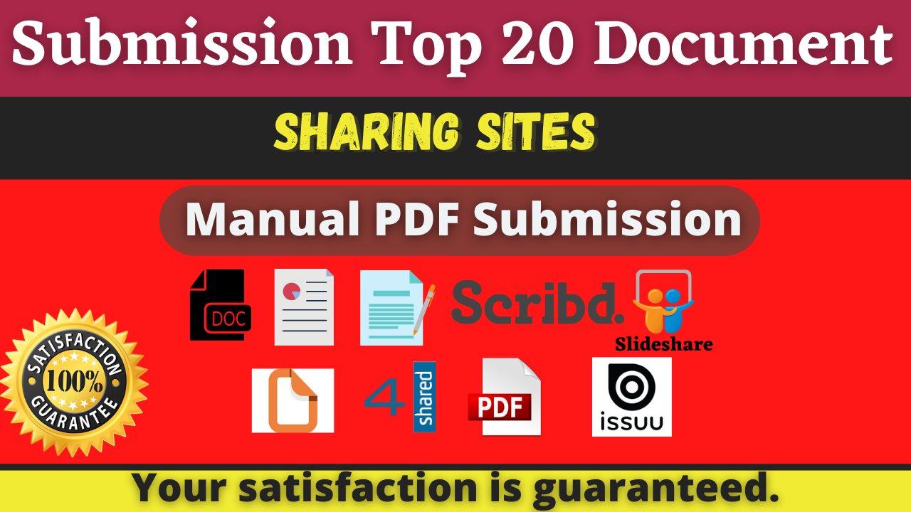 20 Manual PDF Submission on Top Document Sharing Sites With 4shared/Scribd/Docstoc/Slideshare etc
