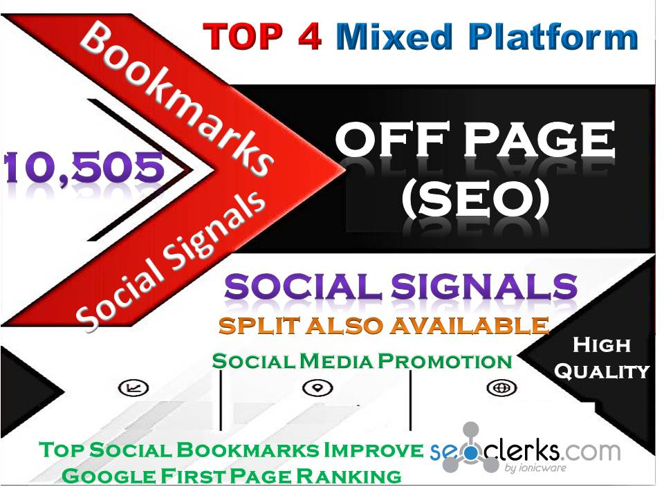 TOP 4 Powerful Mixed Site 10,505 Social Signals Pinterest Tumblr WebLike Reddit Bookmark Backlinks