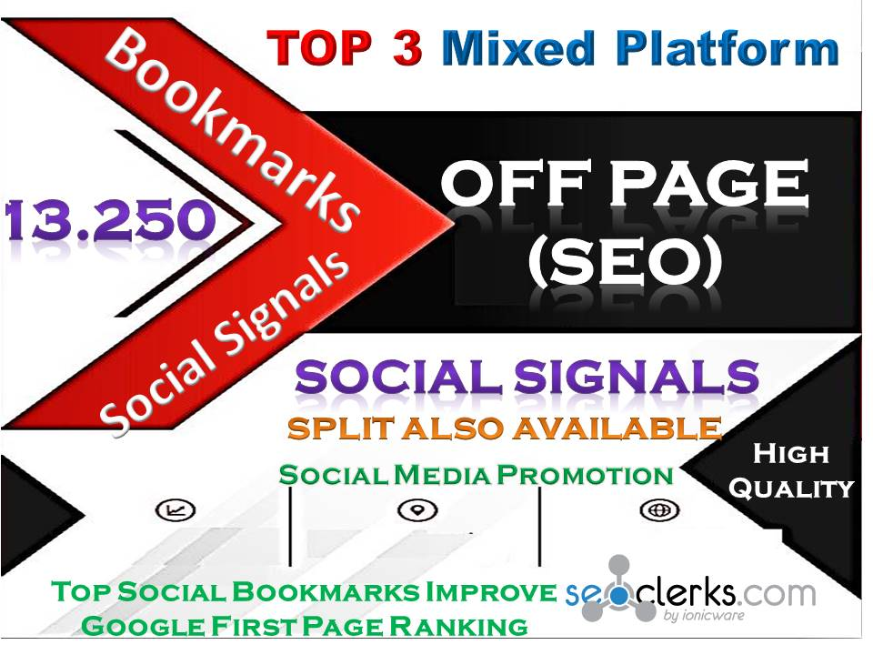 TOP 3 Powerful Mixed Site 13,250 Social Signals Pinterest Tumblr WebLike Bookmark Backlinks SEO Rank