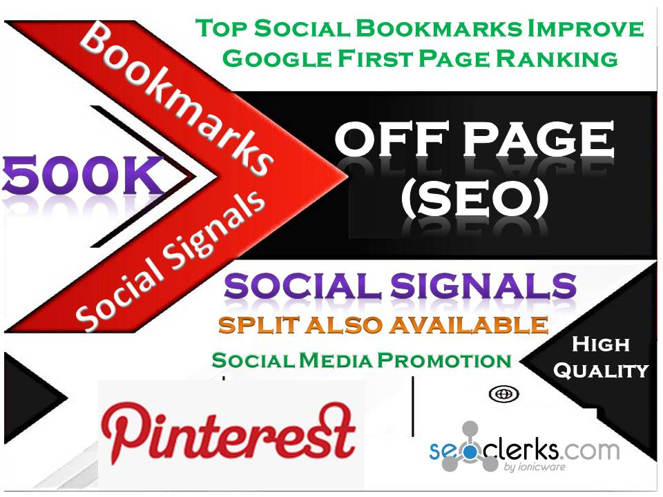 TOP Powerful Site 500K Social Signals Pinterest Bookmark Backlinks with split also available