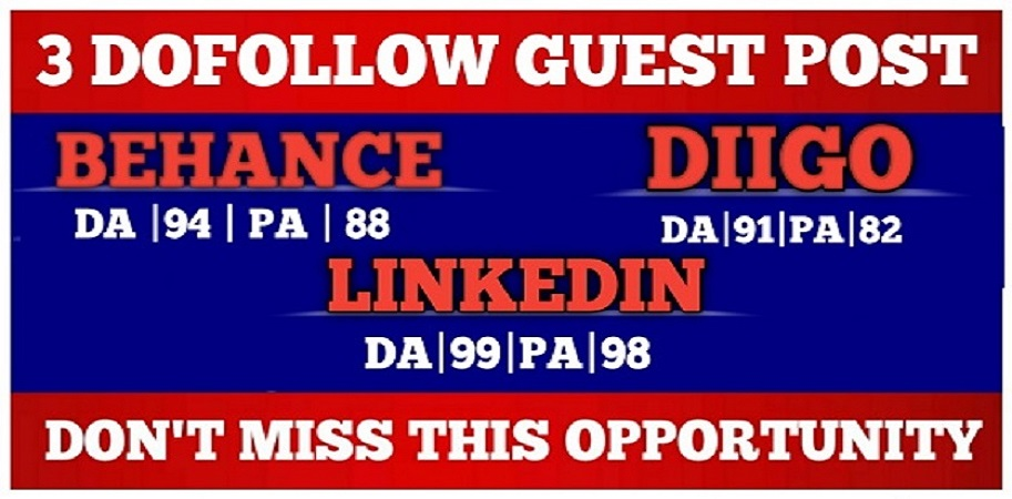 write and publish high da guest post on da90+ website behance, diigo, linkedin with DofoIIow Link