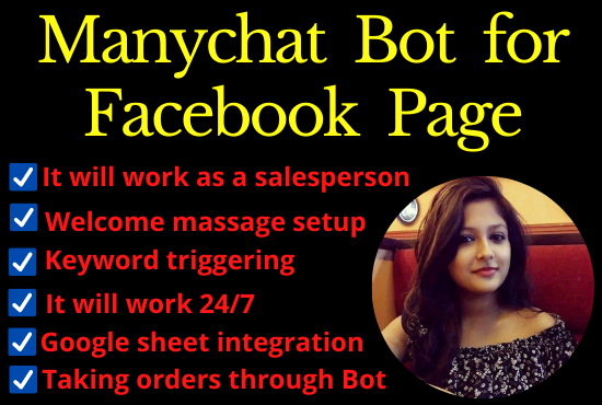 I will build MANYCHAT for your Face-book page and website