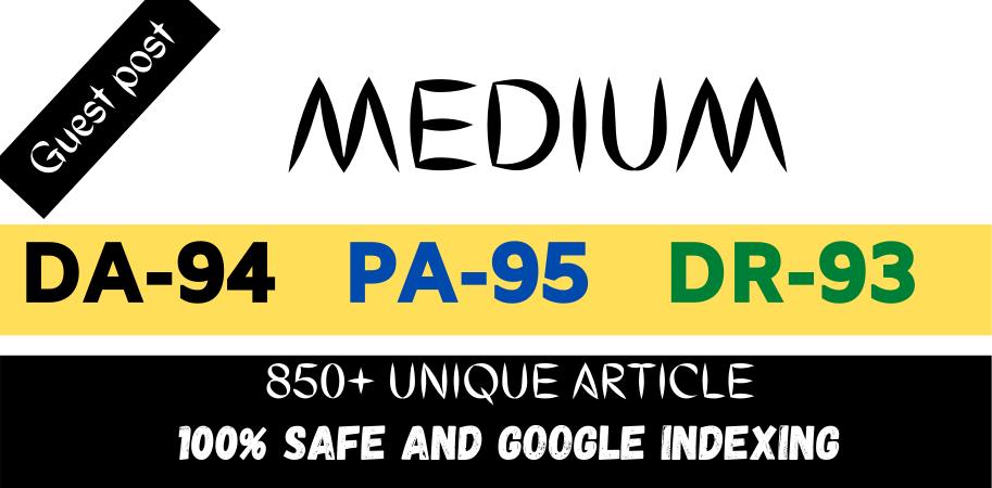 I will do write and publish guest blog post on medium. com DA94 & DR93