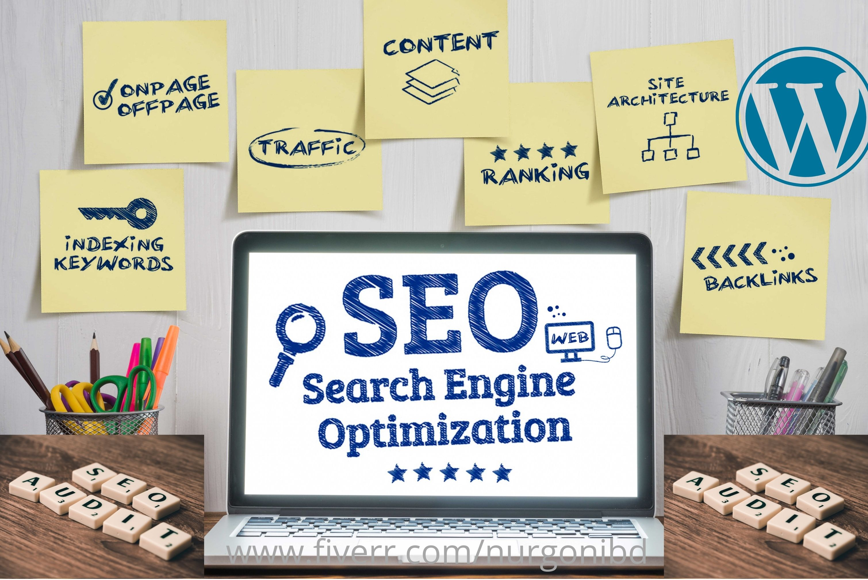 do on page SEO off page and technical optimization of wordpress site