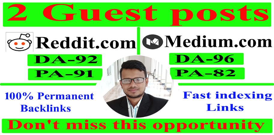 Write and Publish 2 Guest Posts High authority Blog DA90+ Permanent Backlinks & fast indexing