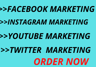 I will do Facebook marketing,  twitter marketing,  Instagram marketing,  YouTube marketing & promotion