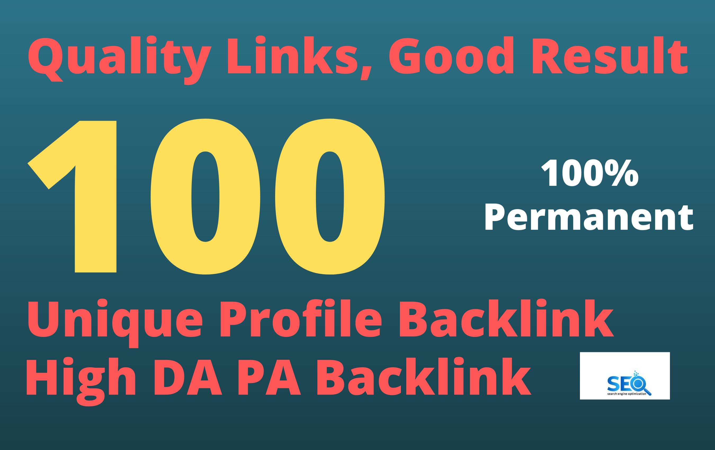 I will create 100 high da and pa profile backlinks