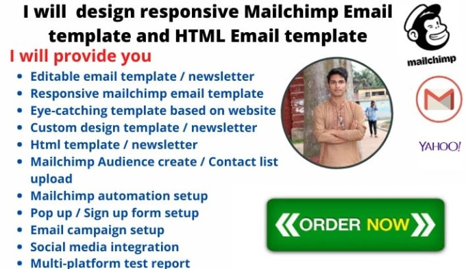 I will design mailchimp email template or HTML email template