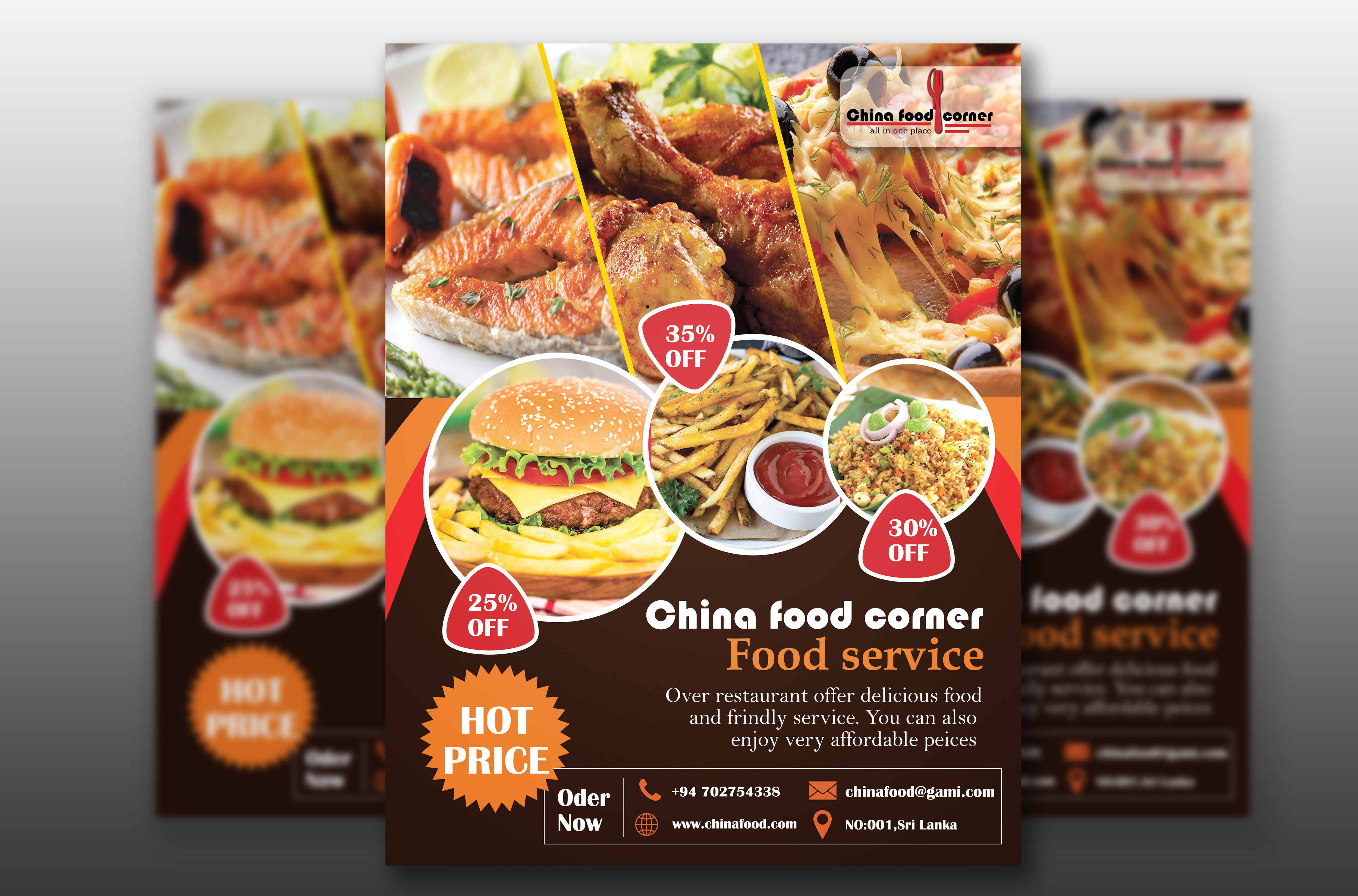 I will design any food flyer,  menu or,  brochure poster,  free logo