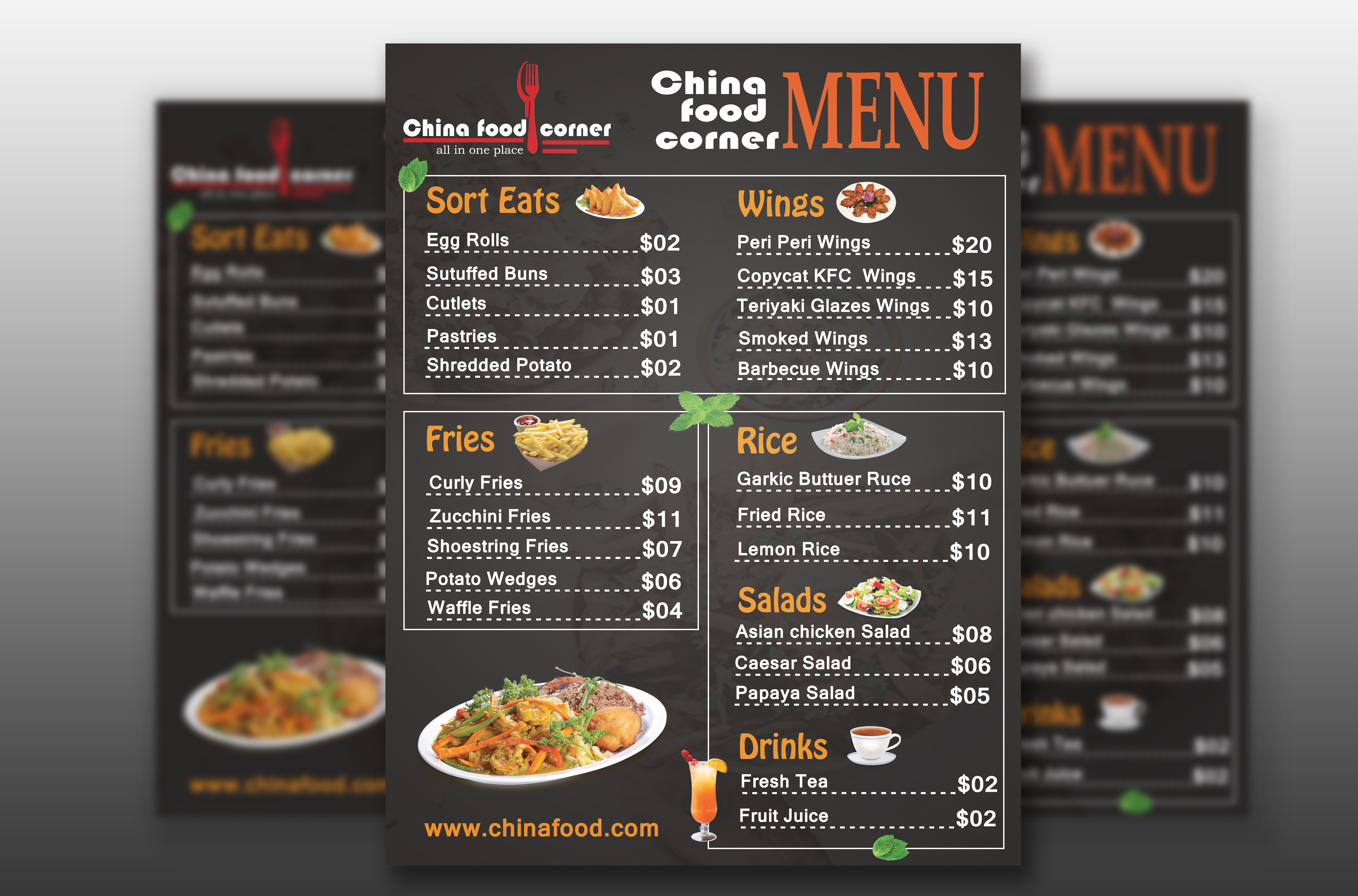 I will design any food menu,  food flyer or poster,  free logo