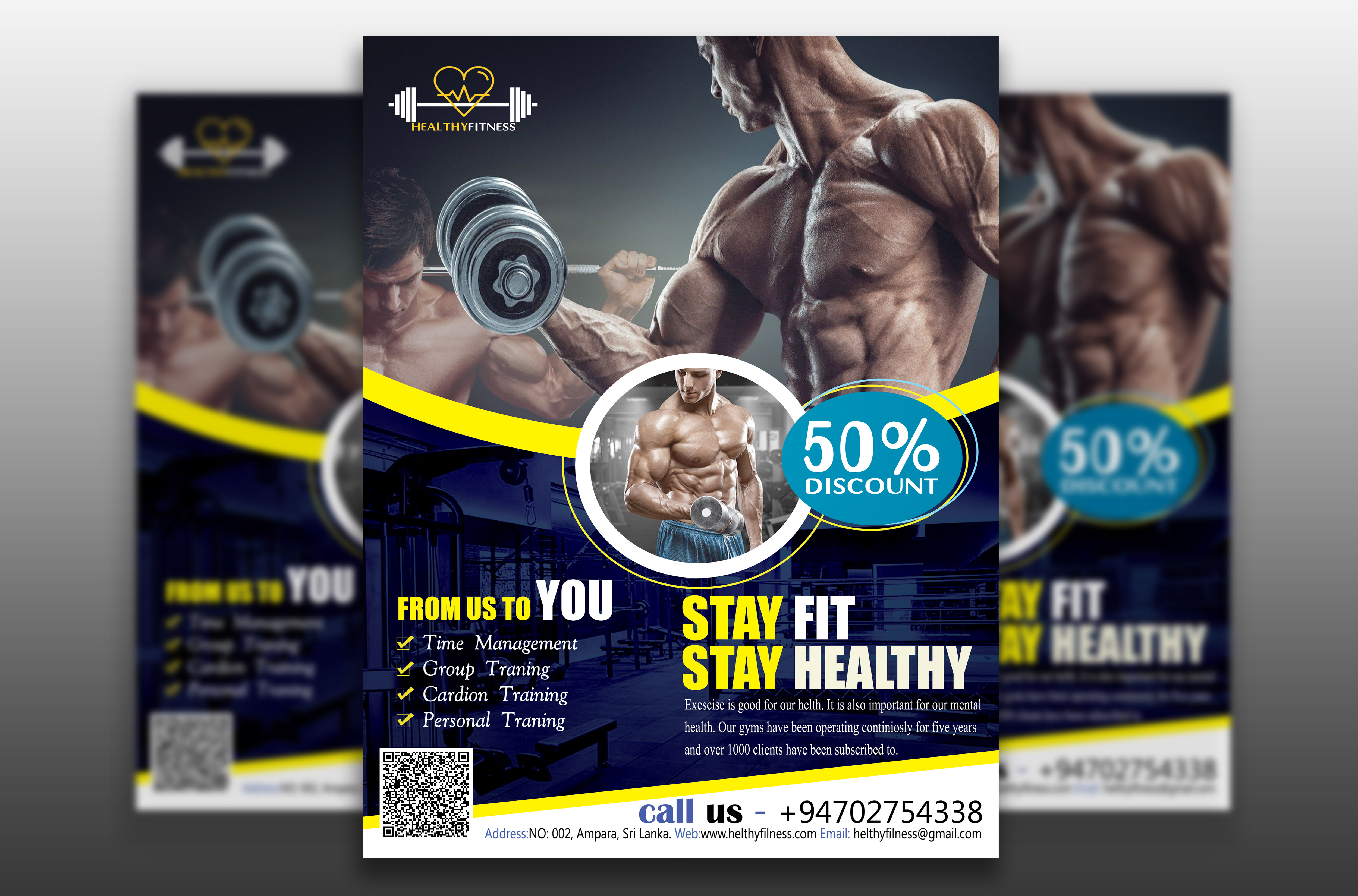 I will make creative fitness,  gym,  workout,  sports flyer,  brochure,  and poster