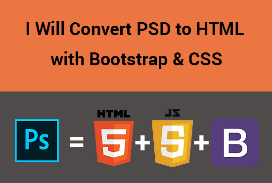 I will convert PHD to HTML and CSS with Bootstrap
