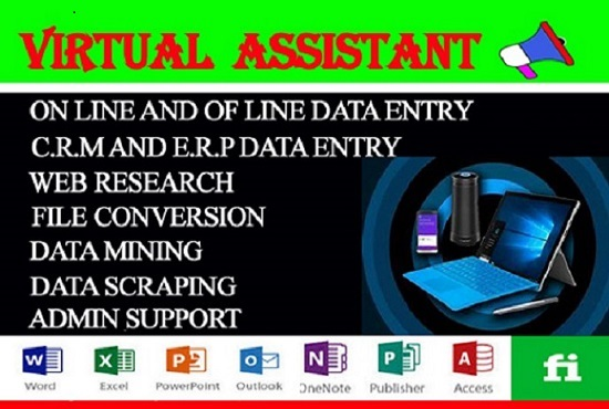 I will be your reliable virtual assistant for data entry,  web research and copy