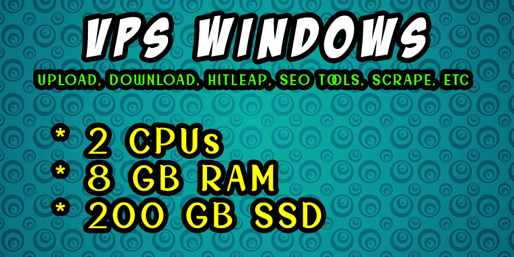 VPS Windows - Linux 8 GB RAM 2 CORE CPU 200 GB SSD