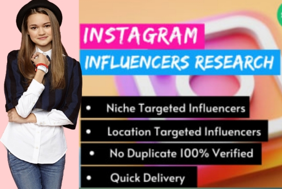 I will find instagram influencer for your niche