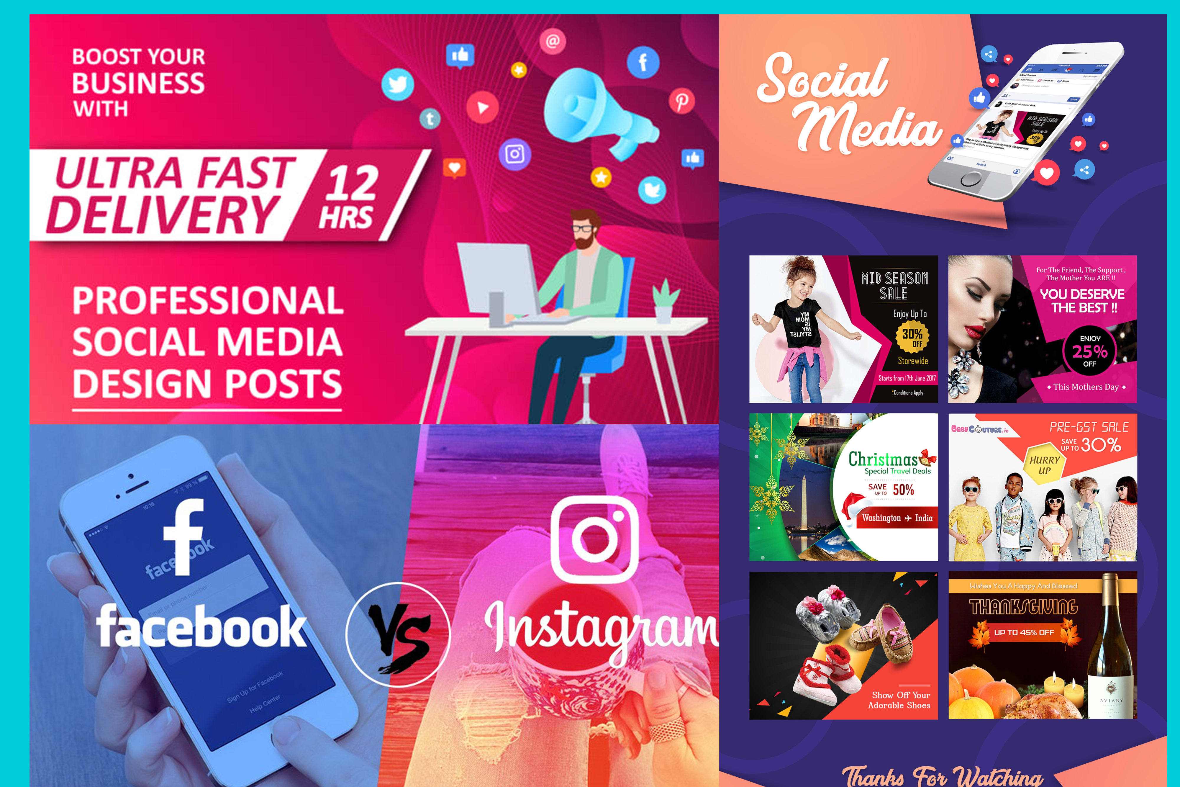I will design unique and attractive social media facebook and instagram posts