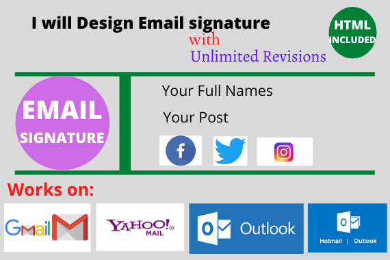 create a professional clickable HTML email signature