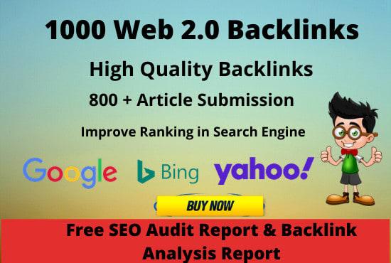 I will create 1100 high authority do follow web 2 0 backlinks da 50