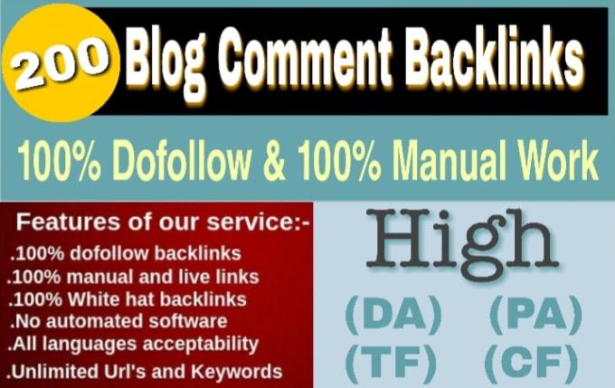 I will create 200 Unique Do follow Blog Comments Backlinks DA30 Plus