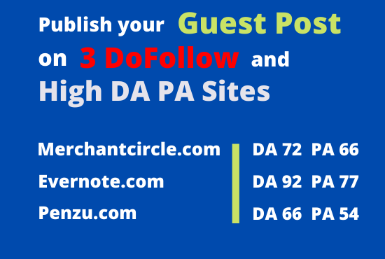 I will publish your GUEST POST ON 3 DOFOLLOW & high DA PA Sites