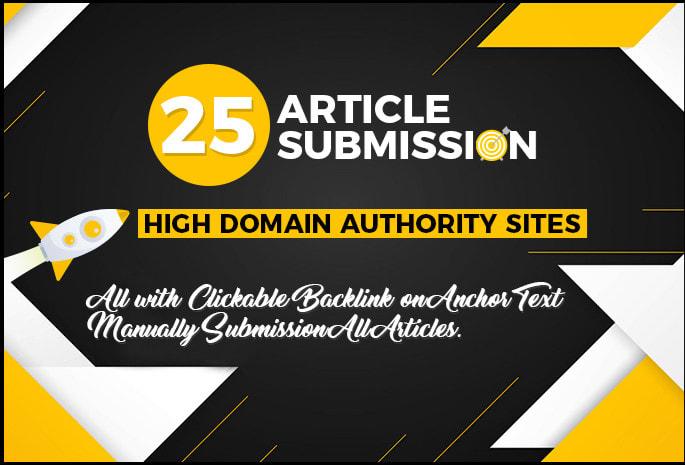 I Will create 25 unique Article Submission Backlinks ON DA 50 TO 70