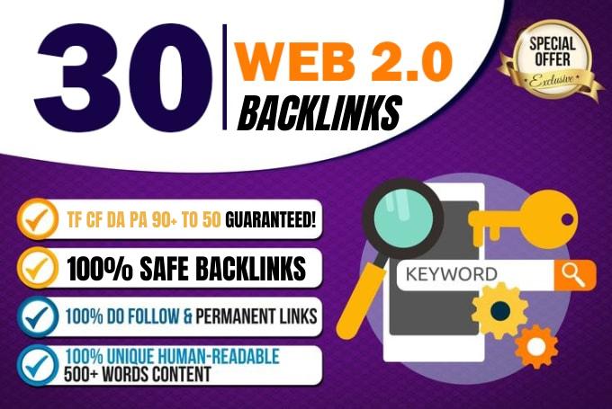I will build 30 web 2 0 manual contextual backlinks