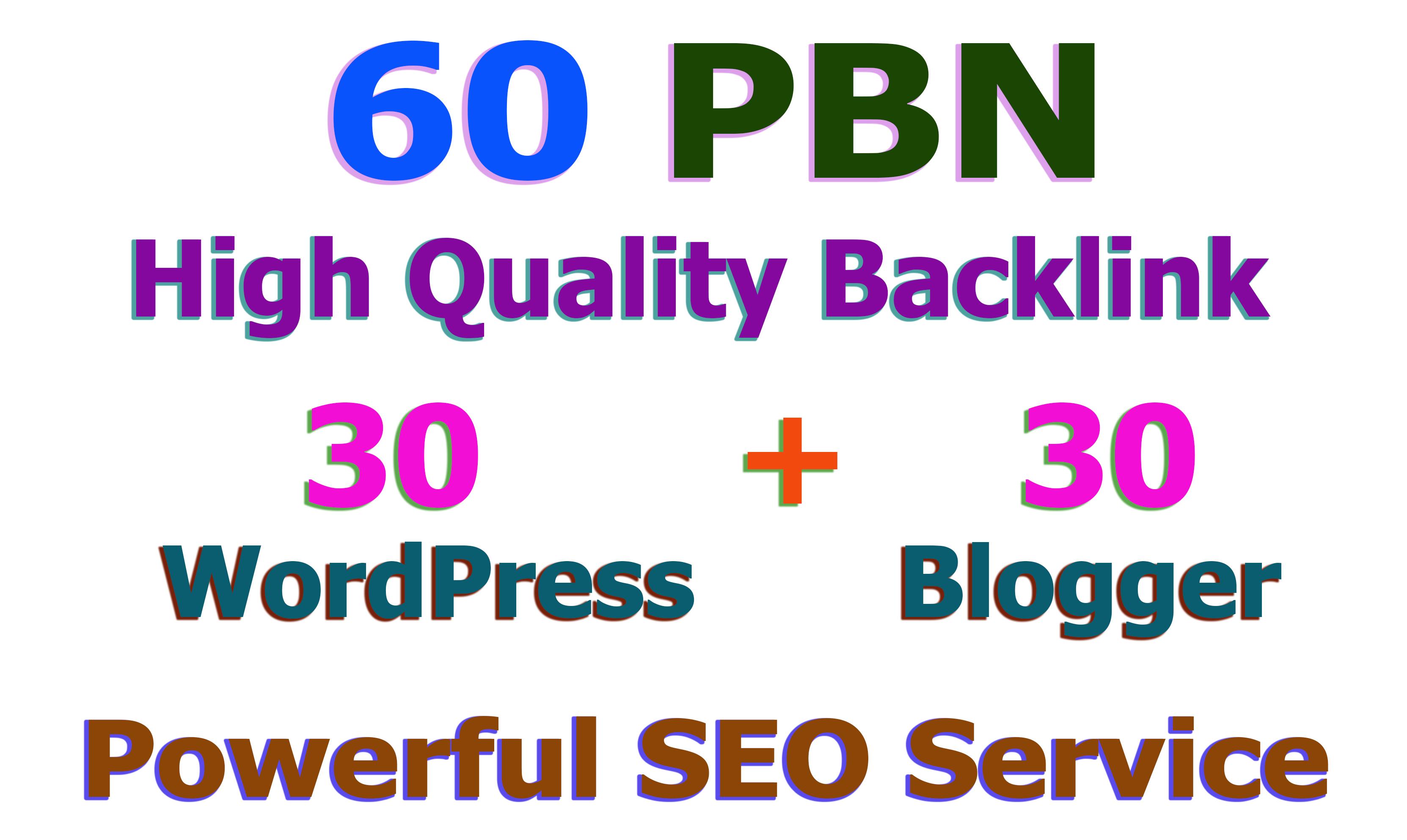 60 Web2.0 PBN Post on WordPress and Blogger High DA & PA Permanent index Backlink