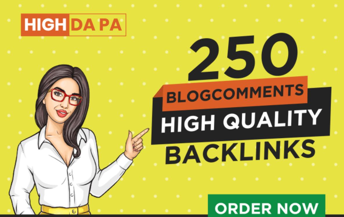 250 dofollow blog comments backlinks