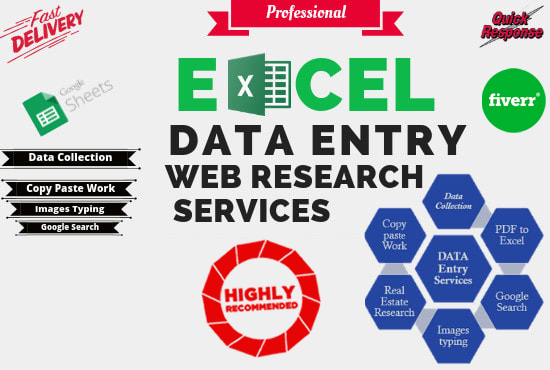 I will do excel data entry, copy paste, typing, data entry Fast