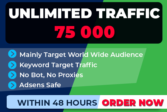 boost 75,000 SEO keyword target website traffic, real visitors