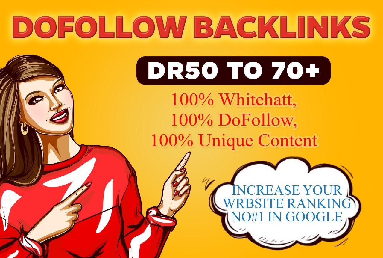 I will create 100 da 50 plus white hat dofollow backlinks