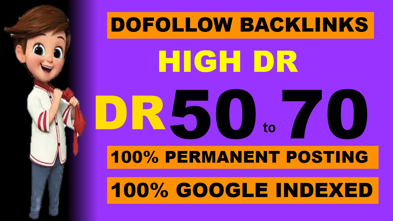 I will build 70 seo backlink on DR 50 to 70 dofollow indexed website