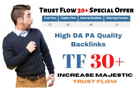 increase majestic trust flow tf 30 plus in 10 days guaranteed for 30