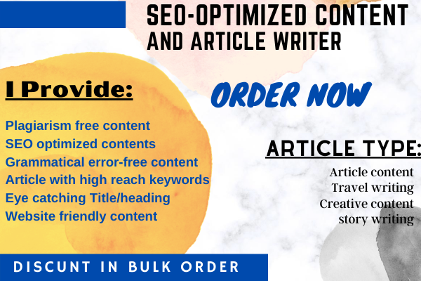 I will write SEO friendly articles,  blog posts,  and website content