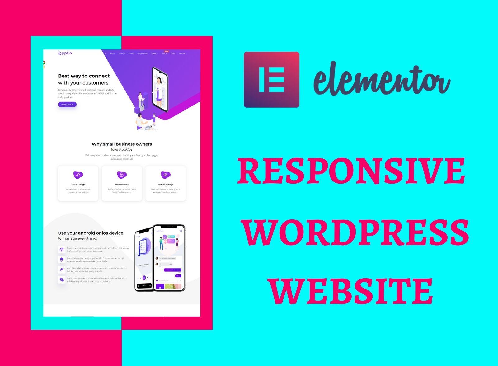 I will do create a responsive WordPress website design