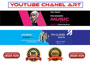 I Will Design Professional Trendy YouTube Banner job within 24 Hr