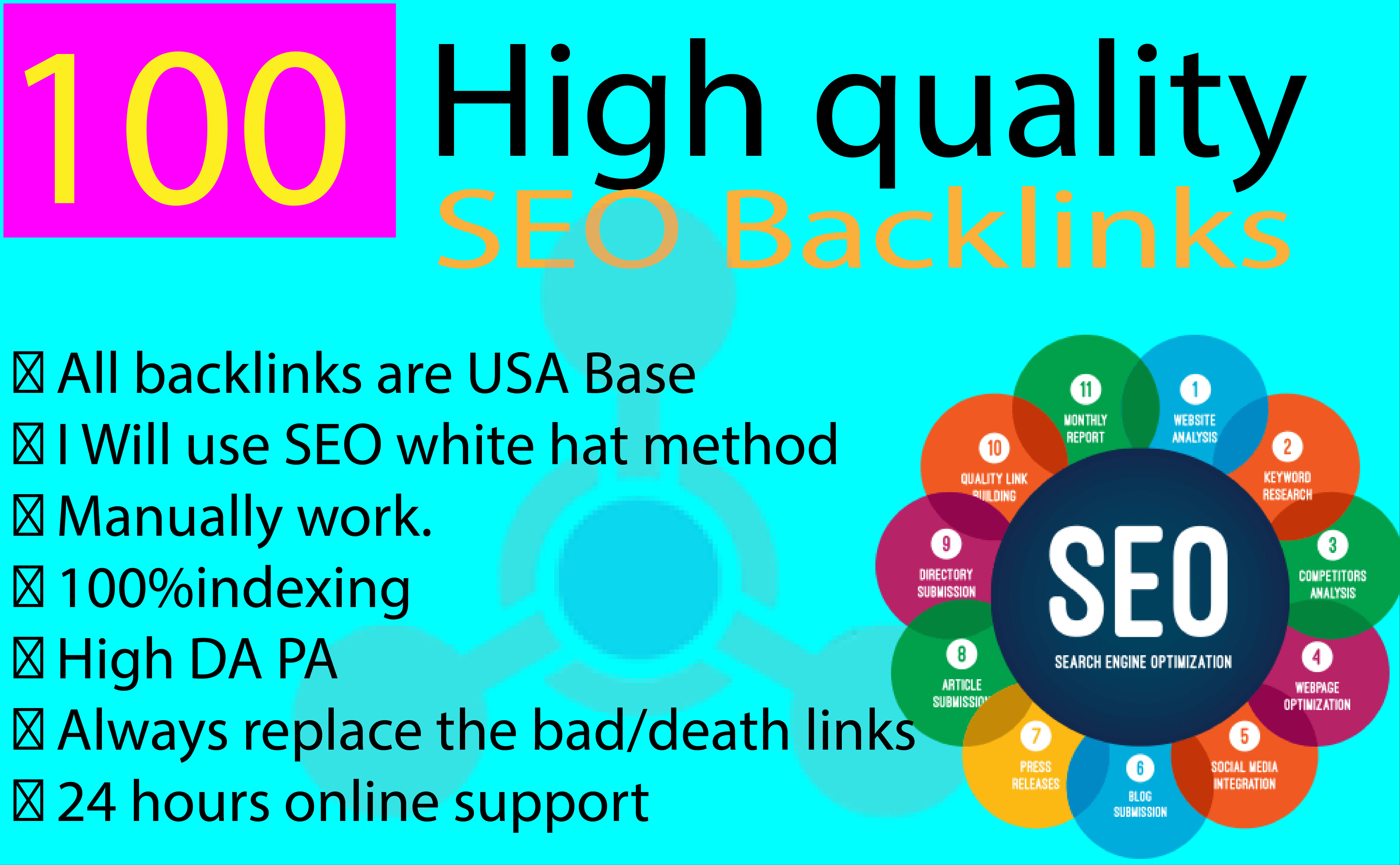 I will do top rank at google with 100 High quality backlinks