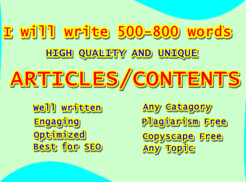 I write 500-800 words SEO unique contents/articles for your website.