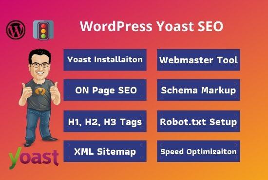 I will do wordpress yoast seo on-page optimization, meta tag, image alt tag and schema markup