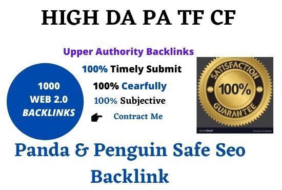 Premium 1000+ web 2.0 Unique Back-links for Sites Dofollow Safe punda & panguin