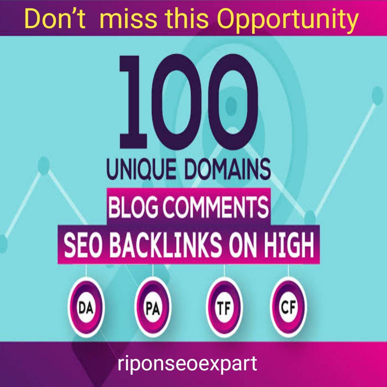 High Domain DA90-50+ site 100 HQ dofollow blog comments backlinks