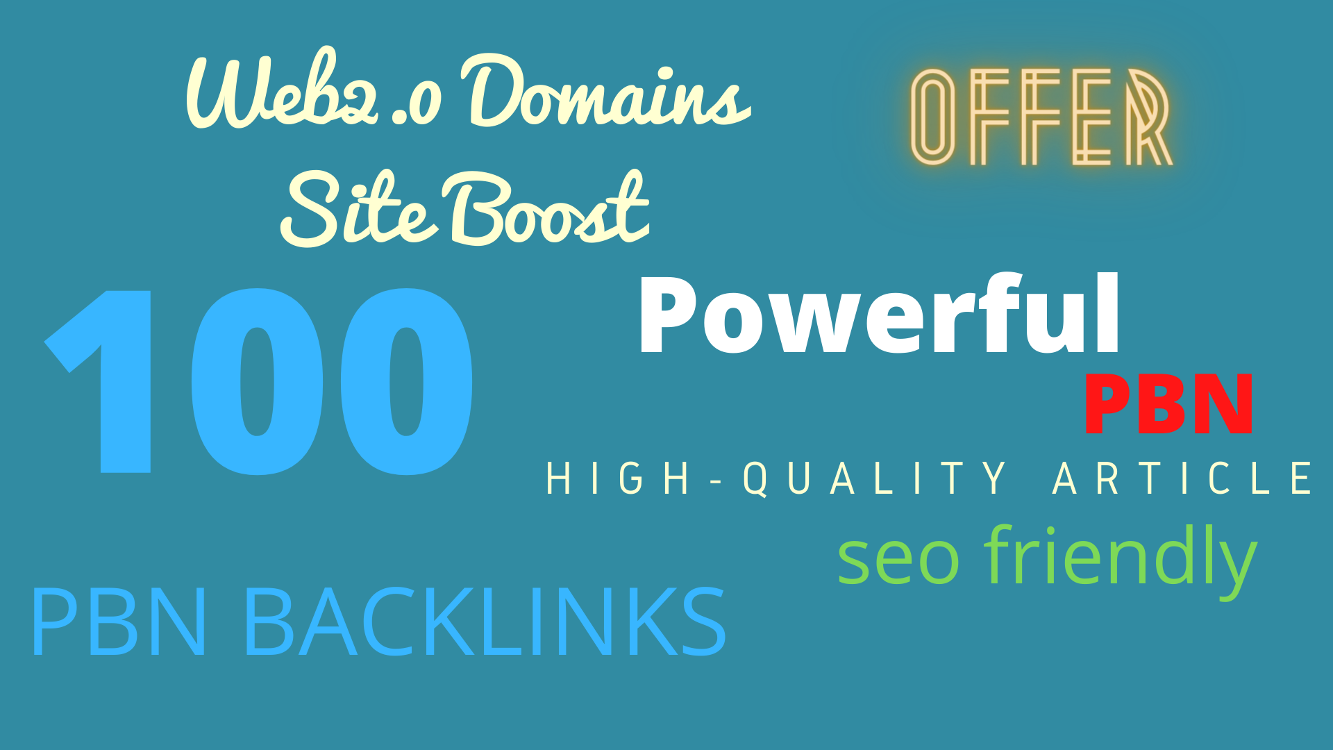 I Will build 100 PBN Back-links From Web2.0 Domains Site HQ Article Submission Blog Post