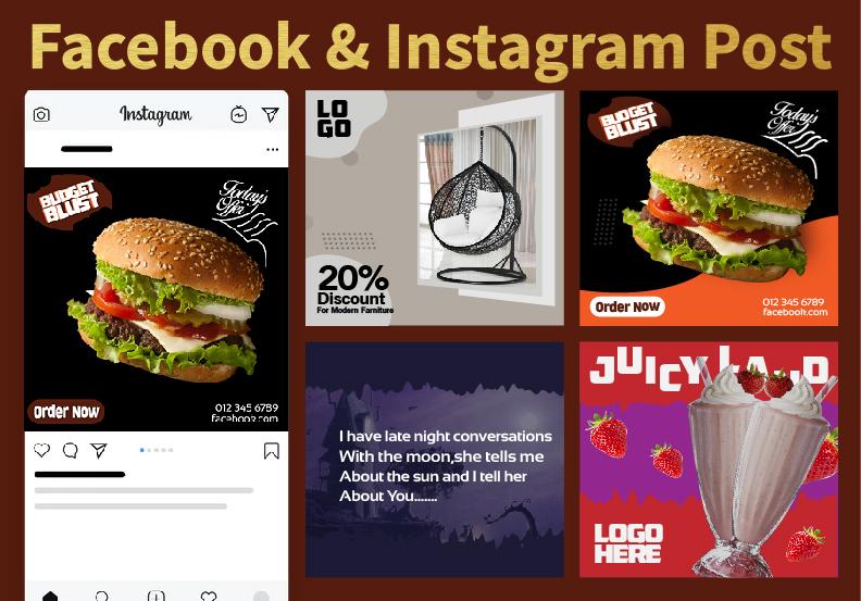I wanna design 40 Facebook posts or Instagram Posts for You.